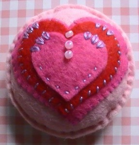 Embroidered heart pin cushion